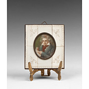 SOLD 19th C. Miniature Watercolor Portrait of Beethoven After Stieler