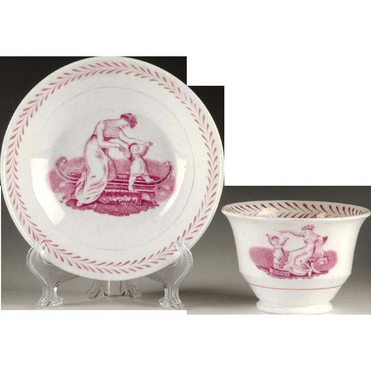 Puce Bat Printed Lustre Ware Tea Bowl & Saucer