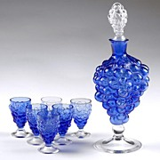 Venetian Glass Grape Cluster Wine Decanter and Glasses