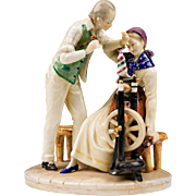 Dresden Porcelain Figurine of Couple At Spinning Wheel