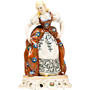 Italian Ceramic Hand Painted Figurine of Maiden