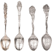 Set of Four Antique Sterling Silver Souvenir Demitasse Spoons