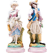 Pair of Victorian Painted Bisque Figures