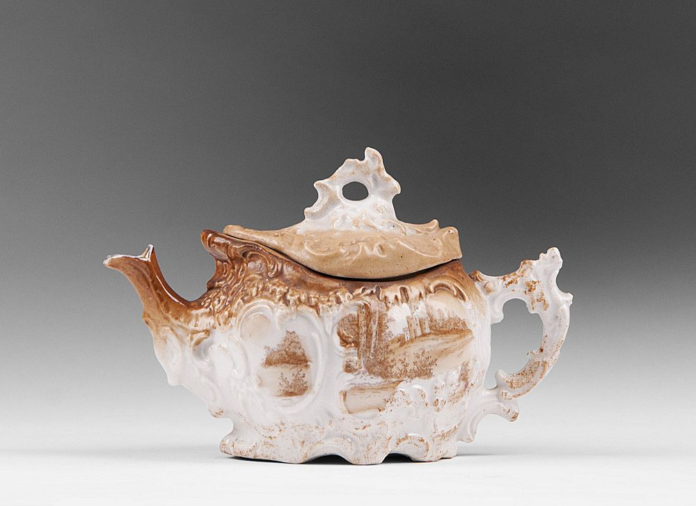 Late 19th C. German Porcelain Scenic Teapot