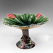Leaf Shaped Majolica Compote