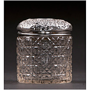 English Cut Glass Hair Receiver With Sterling Repousse Top