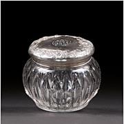 Late 19th C. Cut Glass Powder Jar With Gorham Sterling Lid