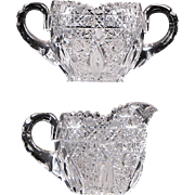 American Brilliant Period Cut Glass Sugar Bowl and Creamer