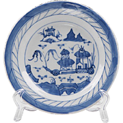Blue & White Canton Bread & Butter Plate, 1850-80