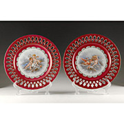 Pair of Paris Porcelain Reticulated Cabinet Plates