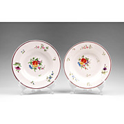 Pair of Chamberlain Worcester Soup Bowls, 1811-1820