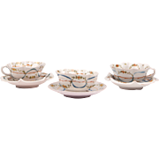 Set of Three Cantagalli Italian Hand Painted Cups & Saucers