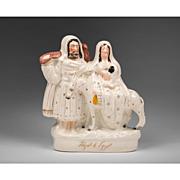 Large Staffordshire Pottery Figurine, Flight To Egypt, 1880