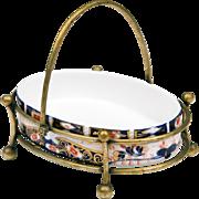 19th C. Davenport Longport Oval Dish In Brass Frame