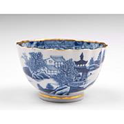 18th C. Blue & White Caughley Salopian Tea Bowl