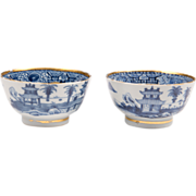 Pair of Late 18th C. Blue & White Worcester Tea Bowls