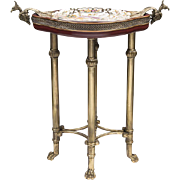 Vintage Bronze Side Table Inset With Porcelain Plate