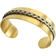 SALE Designs by Ali Brass Cuff with Antique Silver Plated Chain