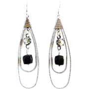 SOLD Designs by Ali Matte Rhodium Plated Teardrop with Dark Black Sardonyx Agate Earrings