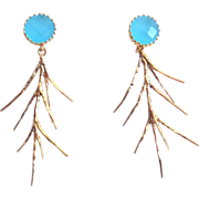 SOLD Designs by Ali Matte Gold Plated Brass with Ocean Blue Glass Earrings