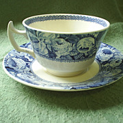 """June"" Blue Roses chintz cup & saucer, vintage England"