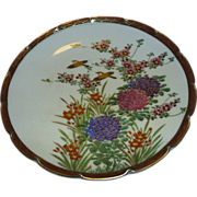 Satsuma floral w/birds plate, vintage 19th century