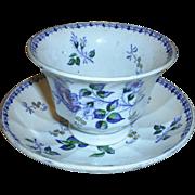 19th C. Moss Rose Handleless cup & saucer