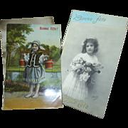Vintage French postcards, Bonne Fete!
