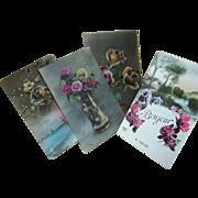 Four French floral postcards, Bonjour, Bonne Anee!