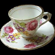 Demitasse Tuscan, Eng. cup & saucer, roses