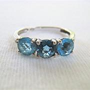Three 3 Stone Blue Topaz Ring 10K White Gold Size 7