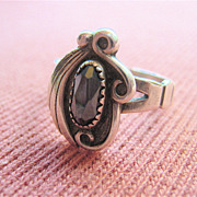 Sterling Silver 926 Faceted Hematite Ring Signed Native American Design