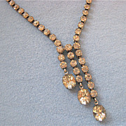 Elegant Sparkly Triple Drop Rhinestone Choker Necklace