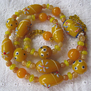 Sunny Yellow Art Glass Bead  Necklace 20 Inches