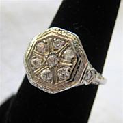 14K White Gold Old Mine Cut Diamond Ring 1910-1930 Transitional