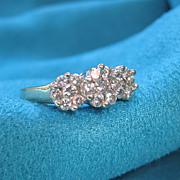14K Gold Diamond Triple Cluster Ring Stunning