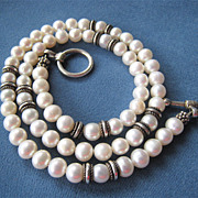 Sterling Silver 925 Fresh Water Pearl Necklace Toggle Clasp 16.5 Inches