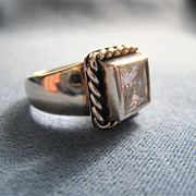 Sterling Silver 925 Wide Band Ring Clear Stone