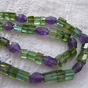 SALE Carved Gemstone Necklace Tourmaline Amethyst 14K Clasp Bi-Color Custom