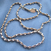 Miriam Haskell Silver Tone Textured Twist Style Necklace Signed