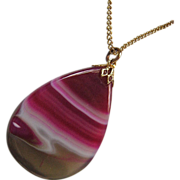 SALE Banded Agate Pendant Fuchsia Tan on Gold Tone Chain Necklace