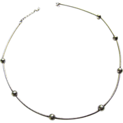Sterling Silver 925 Cable Wire Necklace Choker Ball Stations