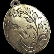 SALE Vintage Gold Filled Locket Pendant Etched