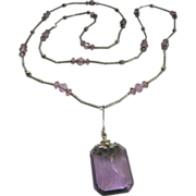 Amethyst Paste Sterling Rod and Bead Lavaliere Necklace