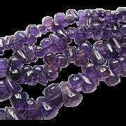 Amethyst Teardrop Bead Necklace 17 Inches