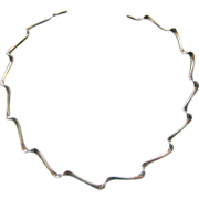 Sterling Silver 925 Squiggle Rigid Neck Collar Necklace