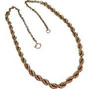 SALE Antique Gold Filled Rope Necklace Choker 16 and 1/2  Inches