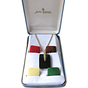 Trifari Lucite Pendant Necklace Set Interchangeable Original Box