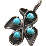 Sterling Silver 925 Turquoise Colored Stone Thunderbird Pendant Small