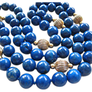 SALE Blue Gemstone Bead Gold Filled Stations Necklace Hand Knotted 33 Inches